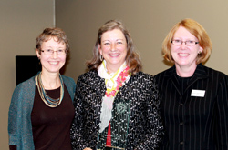 Susanne Murtha, at left representing Creative Healing Connections, Peggy Lynn, center with Altes Prize and Dean Nikki Shrimpton smile during the open house. (Photo/Tracy Zappola)
