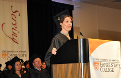 Rachel Spaulding, student speaker at the Center for Distance Learning graduation, discussed the benefits of flexible learning options.