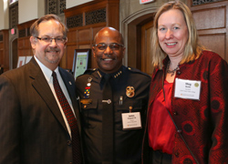 Dean Jonathan Franz, RPD Chief James Sheppard '99, Acting President Meg Benke at the annual Genesee Valley Center community event. Sheppard was honored for his leadership and community service.