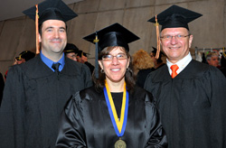 Northeast Center student speakers Donald Ellis, Lisa Michaels and Dennis Kramer share a smile right before the 2013 graduation.