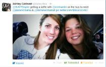 Ashley Caldwell '14 tweeted the college a selfie with fellow alumna Erin Hamlin '11 on their way to the White House as members of the U.S. Olympic Team