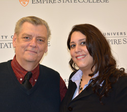 Sandra Barkevich, a 2014 recipient of the Chancellor's Award for Student Excellence, smiles as her proud father Richard Cassarini looks on. Photo/Empire State College