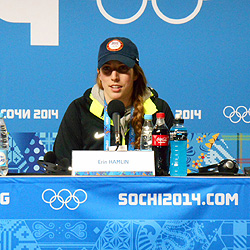 Erin Hamlin '11 replies to questions at a press conference immediately after winning a bronze medal in luge, women's singles, at the 2014 Winter Olympics.