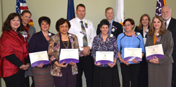 Left to right, Robin Bartlett, chartering officer, STTI, Jennifer Pettis, Mary K. Sweeney, Lisa Moruzzi, Geraldine Vickers and Rosemary Casale. Back left to right,Empire State College President Merodie Hancock, David Theobald, Gregory B. Pieper, Deborah Elliott and Excelsior College President John Ebersole.