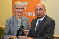 Jane W. Altes presents Bidhan Chandra with the 2016 Altes Prize. Photo/Empire State College