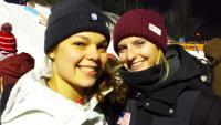 SUNY Empire alumna Ashley Caldwell '14, at left, with her U.S. Olympic teammate Kiley McKinnon, at the FIS World Cup aerial competition, held Jan. 19-20, 2018, in Lake Placid, N.Y.