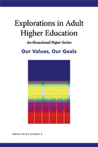 Explorations in Adult Higher Ed Spring 2013 cover