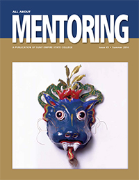 blue performing mask on cover of All About Mentoring, Issue 45, Summer 2014